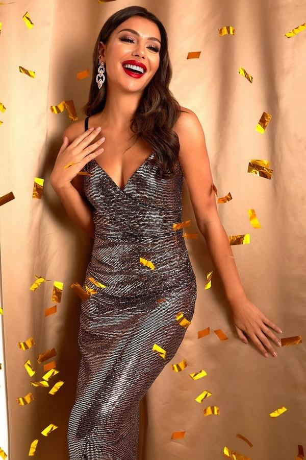 Rose Gold Sequin Wrap Maxi Dress