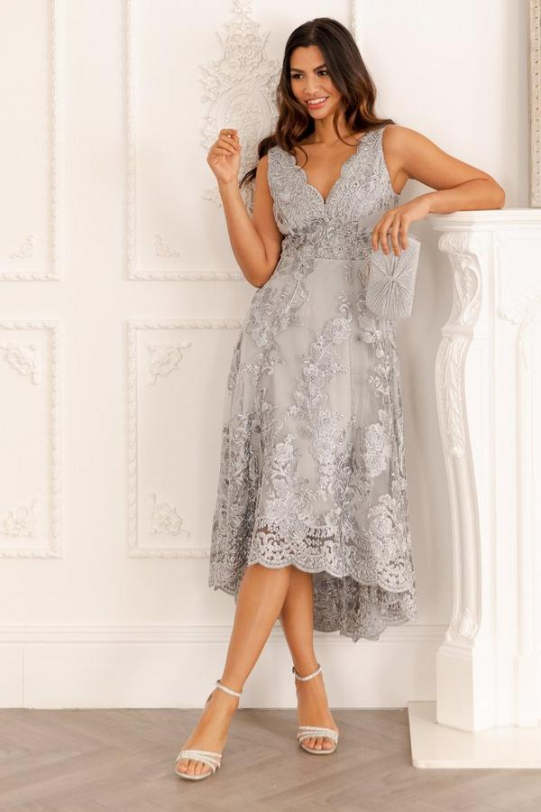 Gray Embroidered Low High Dress
