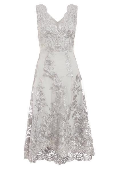 Grey Embroidered Dip Hem Dress