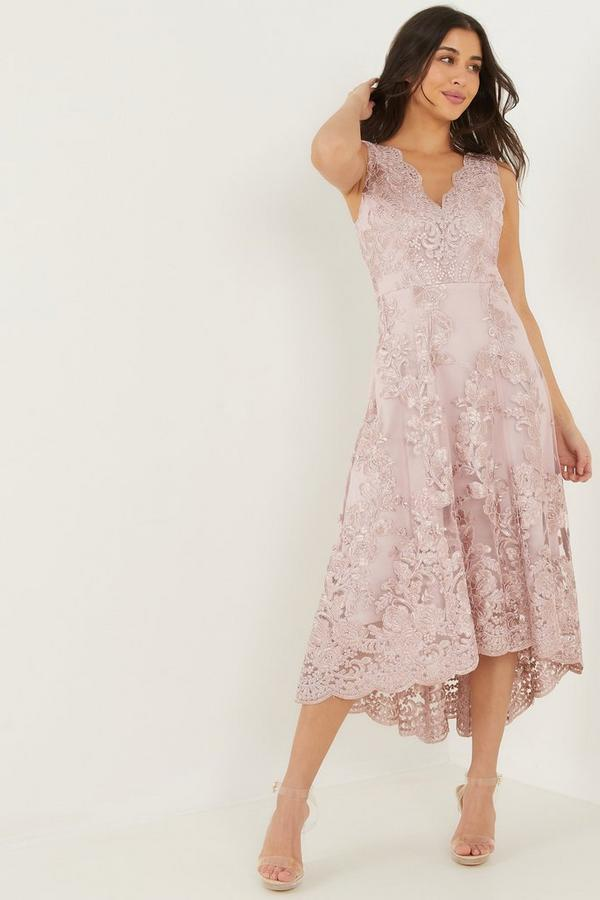 Pink Embroidered Low High Dress