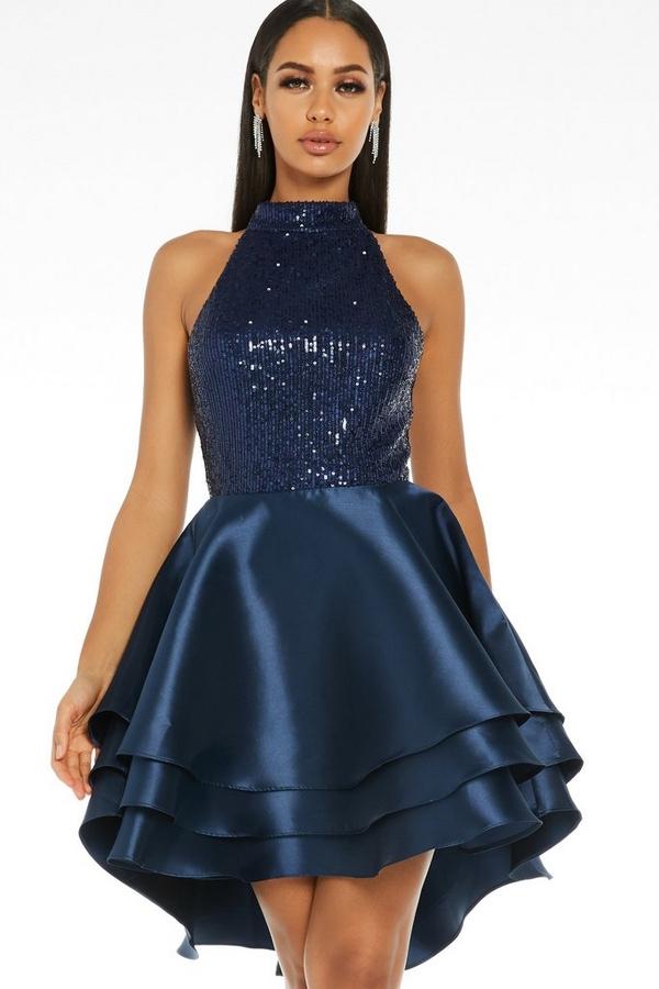 Navy Sequin Halter Neck Dress
