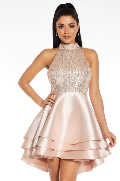 Champagne Sequin Halter Neck Dress