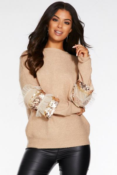 Stone Knit Sequin Frill Sleeve Jumper