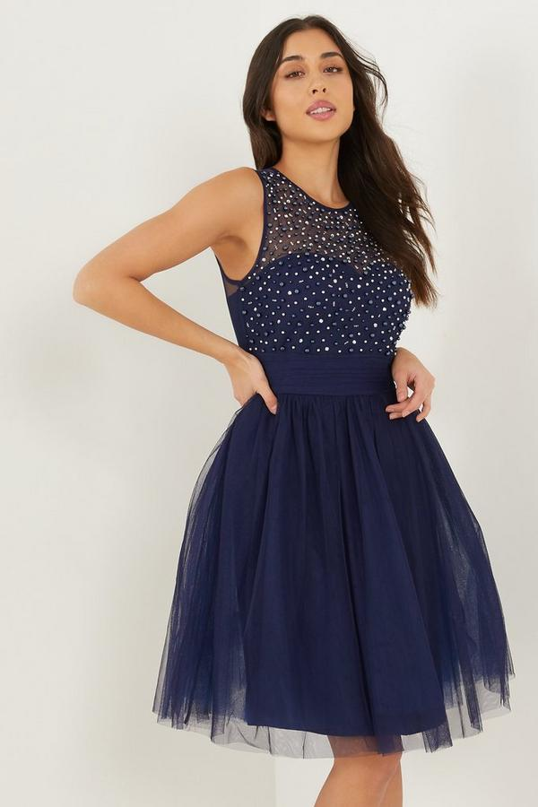 Navy Mesh Sweetheart Embellished Dress