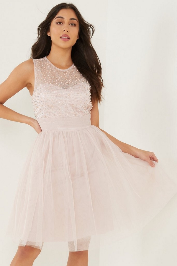 Pink Mesh Sweetheart Embellished Dress
