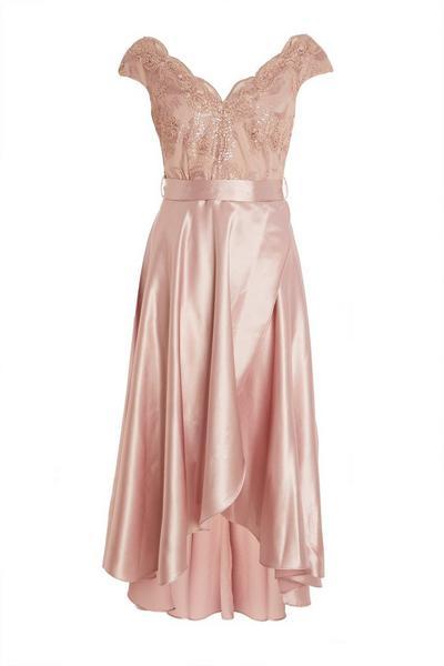 Pink Satin Dip Hem Dress