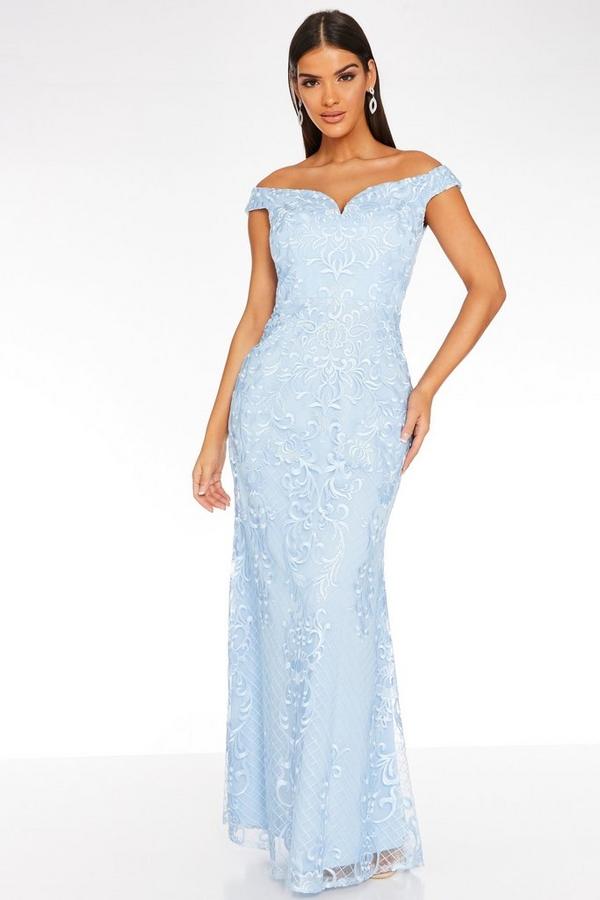 Blue Lace Bardot Maxi Dress