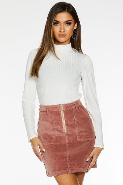 Cream Knit Ribbed Turtle Neck Top