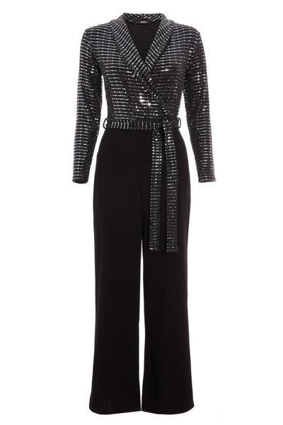 Black and Gunmetal Sequin Long Sleeve Jumpsuit