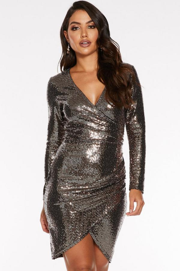 Bronze Sequin Wrap Long Sleeve Bodycon Dress