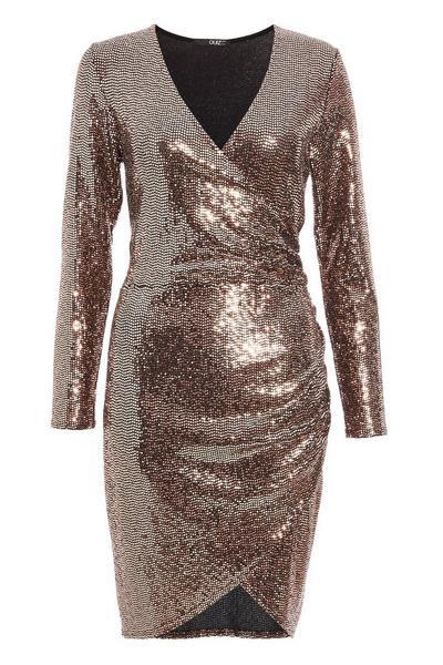 Bronze Sequin Wrap Long Sleeve Bodycon Dress