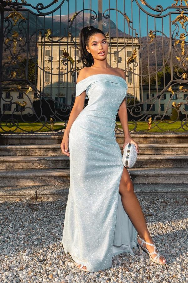 Petite Blue Glitter Bardot Maxi Dress