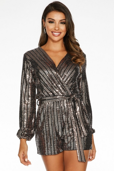 Rose Gold and Black Sequin Wrap Playsuit
