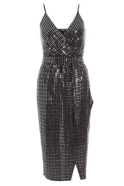 Black and Gunmetal Sequin Wrap Front Tie Belt Dress