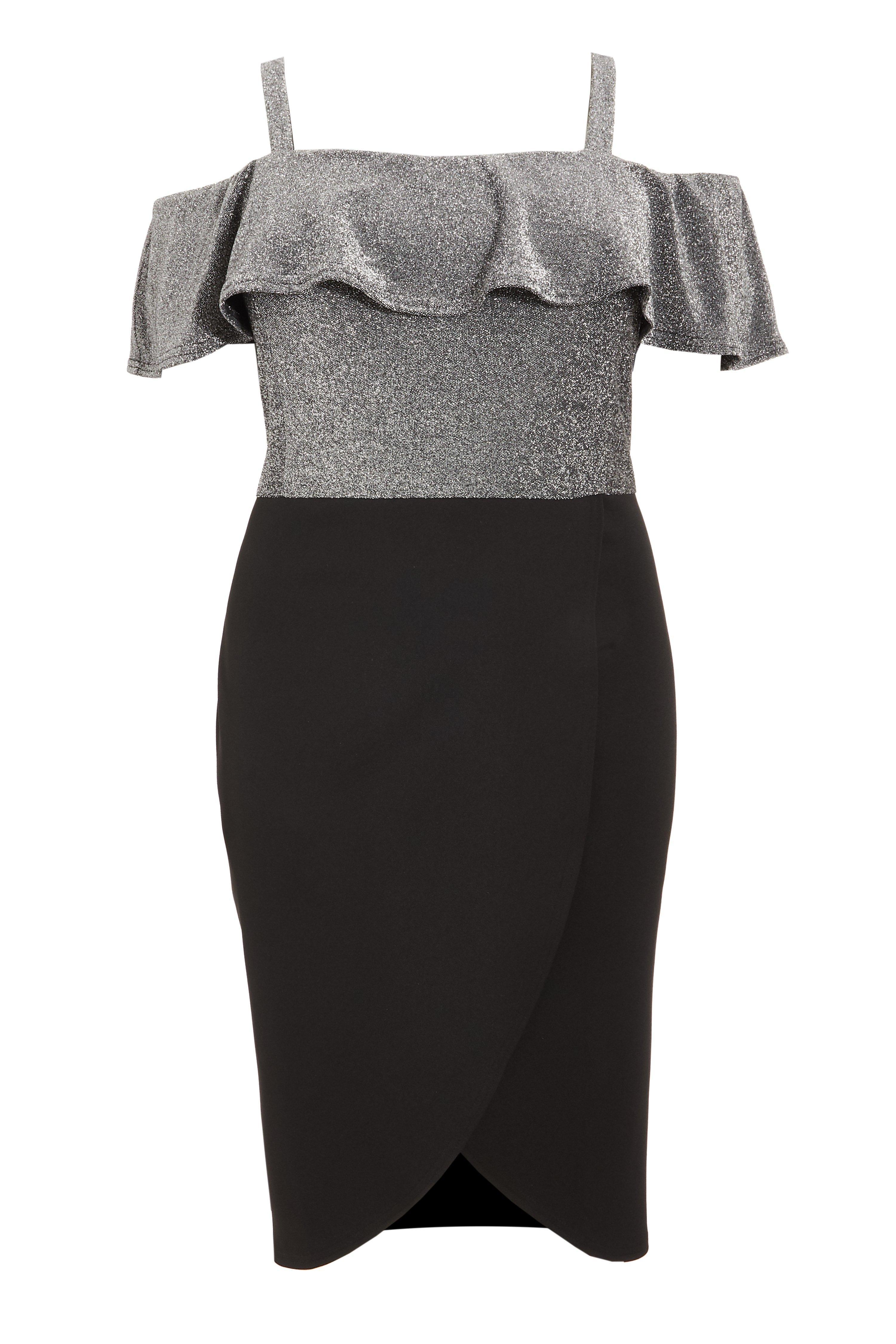 Black New Quiz Glitter Bardot Dip Hem Dress Size 20-120