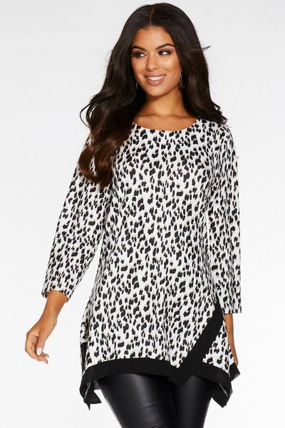 Cream and Black Light Knit Animal Print Top
