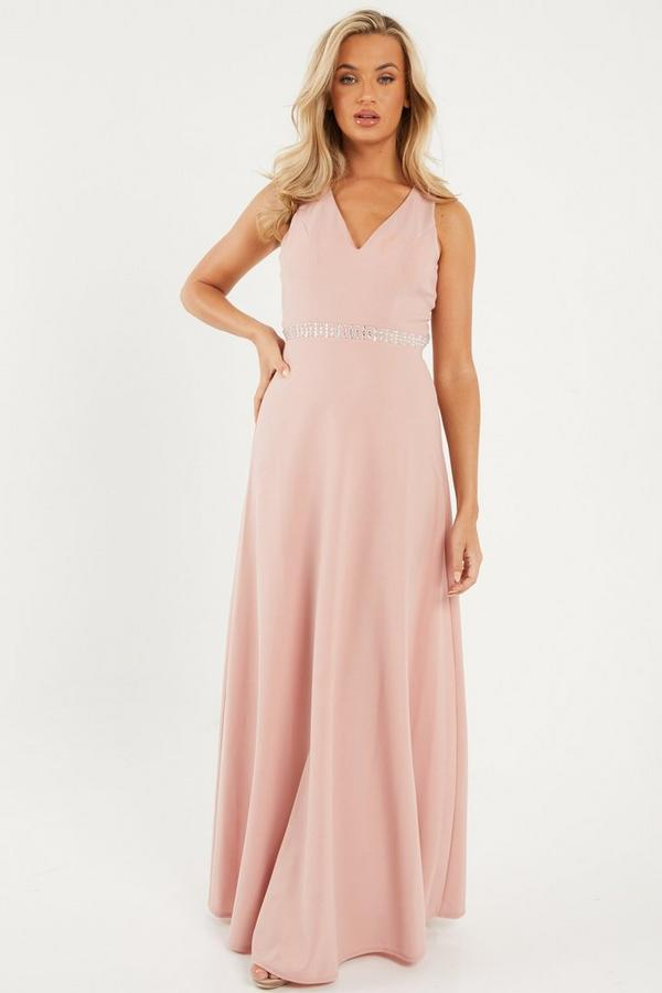 Vestido Largo Rosa con Espalda Descubierta