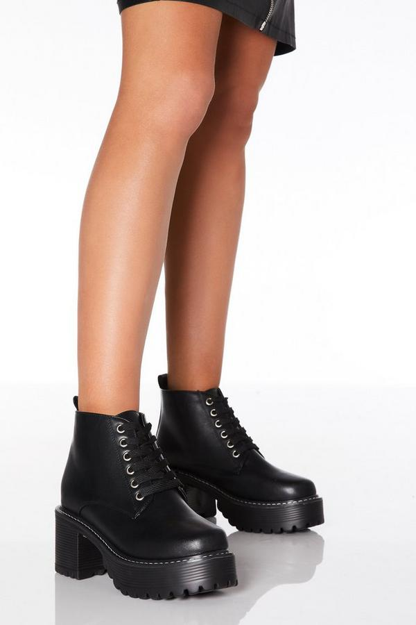 Black Faux Leather Lace Up Chunky Heeled Boots