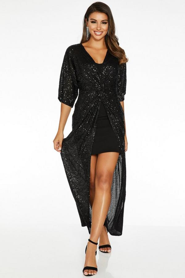Black Sequin Knot Front Batwing Maxi Dress