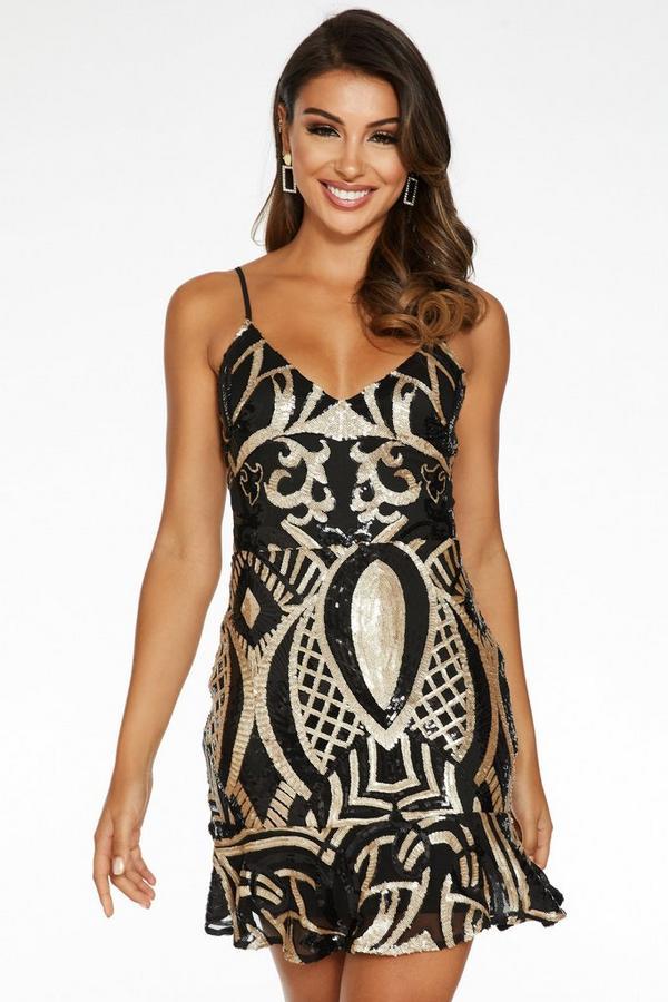 Black and Gold Sequin Lace Up Back Frill Hem Dress