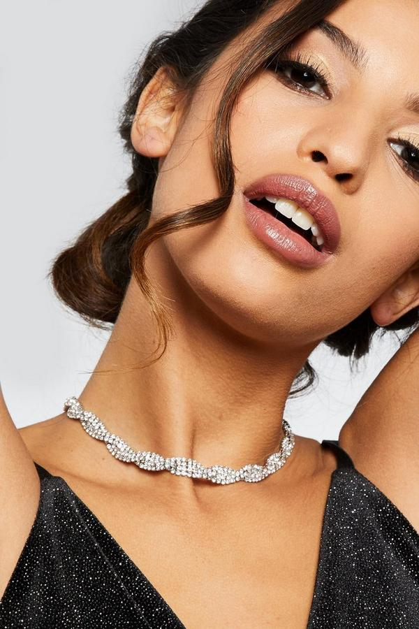 Silver Diamante Twist Choker