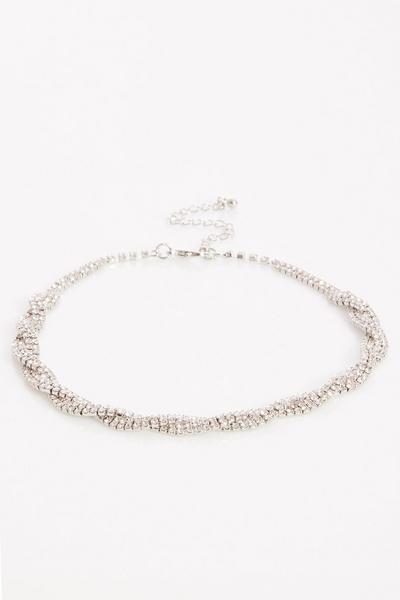Silver Diamante Twist Choker