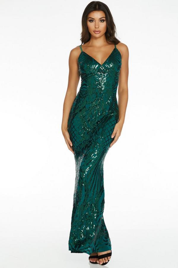Bottle Green Sequin Fishtail Maxi Dress