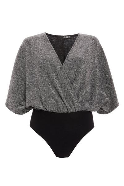 Silver Shimmer Batwing Wrap Bodysuit
