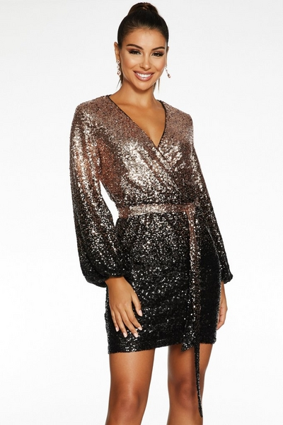Black and Gold Ombre Sequin Wrap Dress