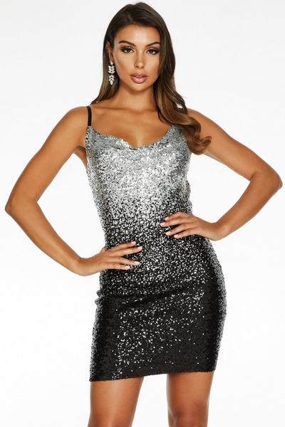 Black and Silver Ombre Sequin Cowl Neck Dress