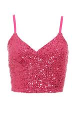 Sam Faiers Pink Sequin Strappy Crop Top
