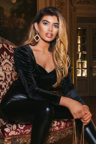 Black Velvet Puff Sleeve Sweetheart Bodysuit