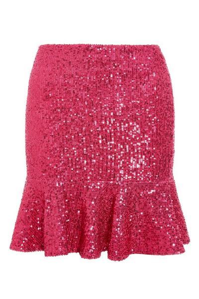 Pink Sequin Frill Hem Skirt