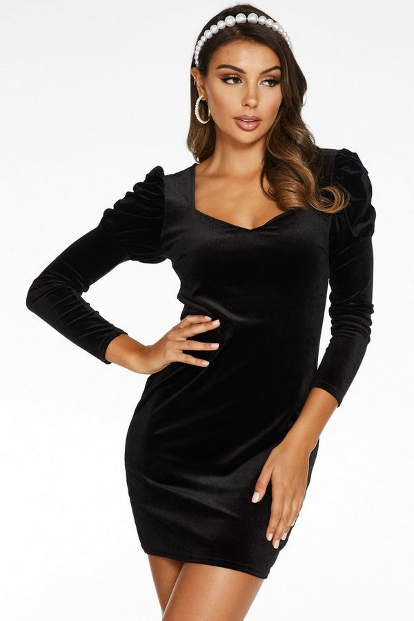Black Velvet Puff Sleeve Bodycon Dress