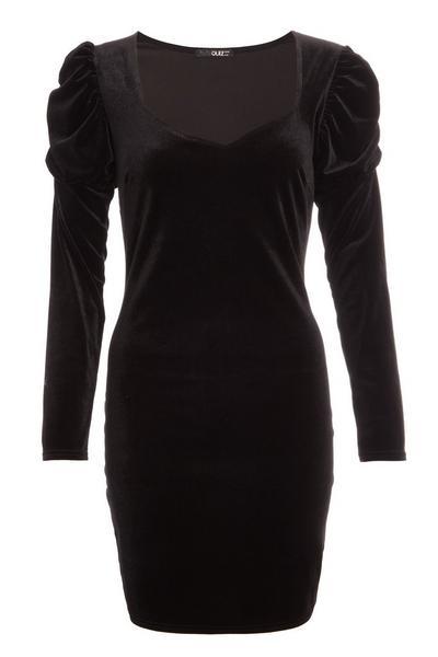 Black Velvet Puff Sleeve Bodycon Dress