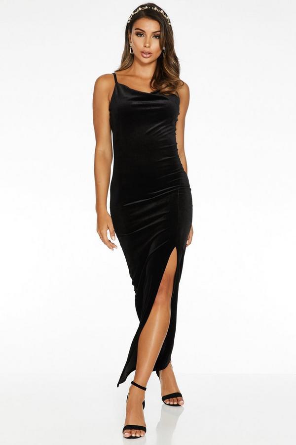 Sam Faiers Black Velvet Cowl Neck Split Maxi Dress
