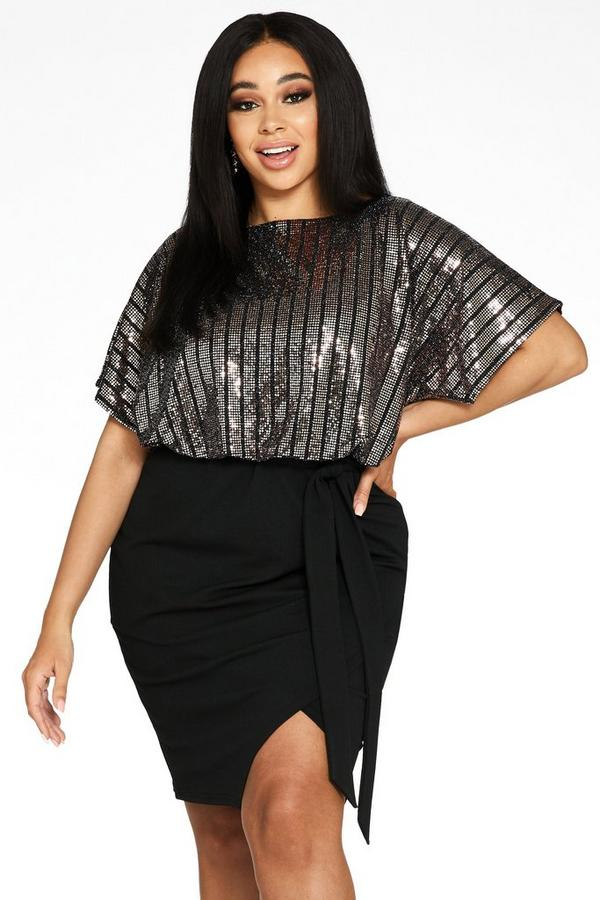 Curve Rose Gold and Black Sequin Batwing Midi Dress