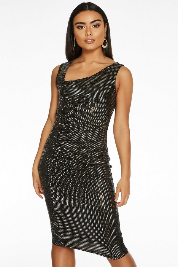 Gold Sequin Asymmetric Strap Ruched Side Midi Dress