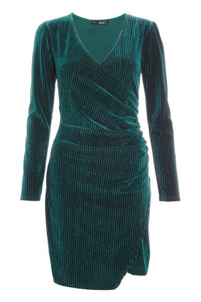 Bottle Green Velvet Glitter Bodycon Dress