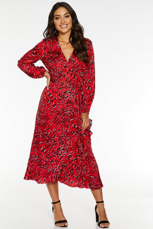 Red Satin Animal Print Midi Dress