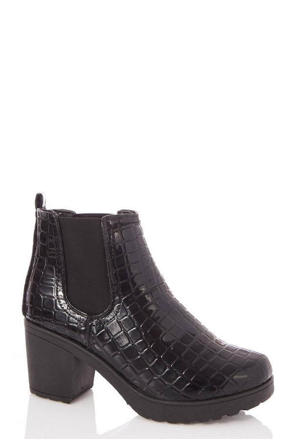 Black Crocodile Effect Chunky Heeled Ankle Boots