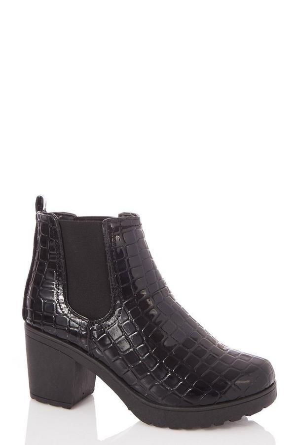 Black Crocodile Effect Chunky Heeled Ankle Boots