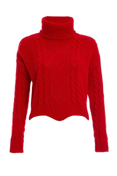 Red Cable Knit Roll Neck Crop Jumper