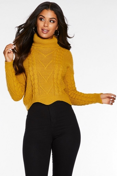 Mustard Cable Knit Roll Neck Crop Jumper