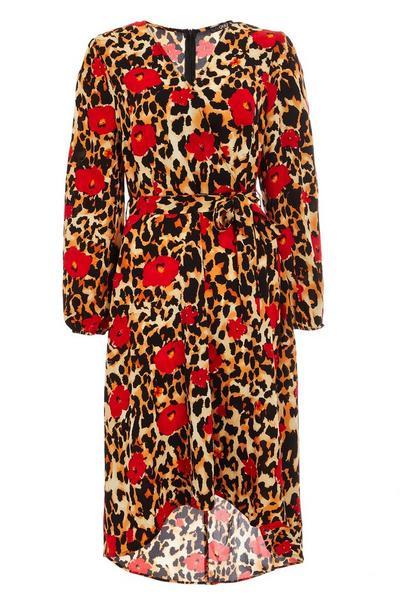 Multicoloured Floral Animal Print Wrap Midi Dress