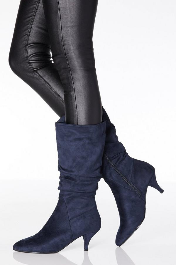 Navy Faux Suede Ruched Calf Boots