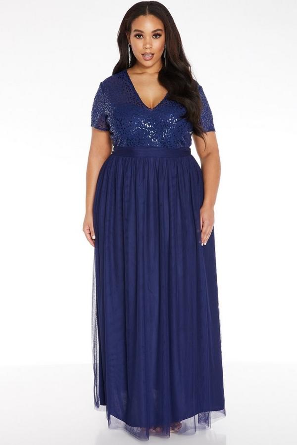 Curve Navy Sequin Maxi Dress