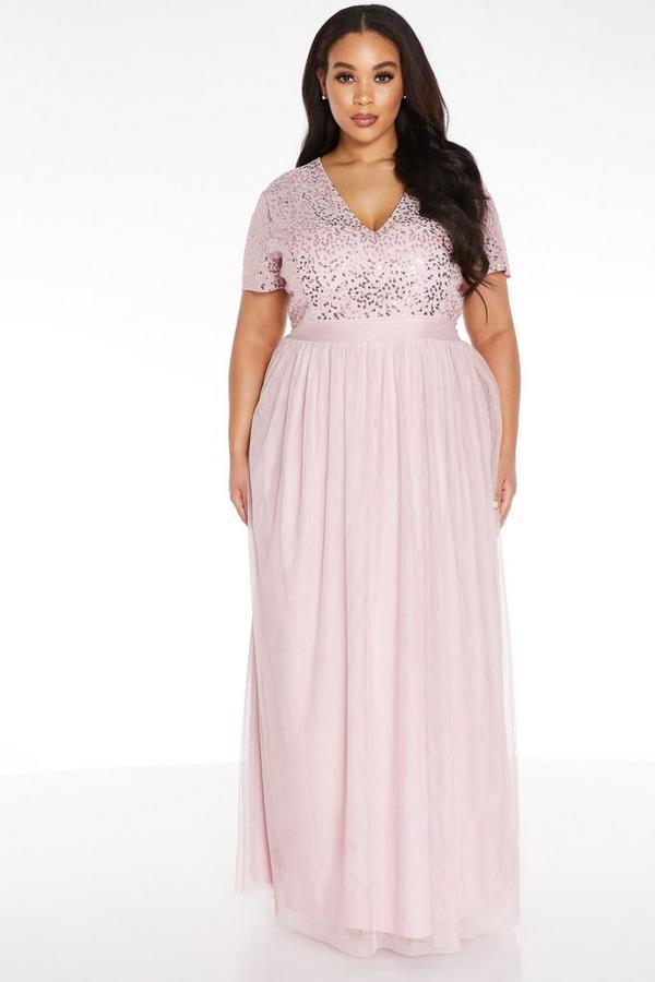 Vestido Curve Largo Rosa con Lentejuelas