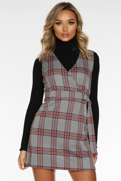 Black White and Red Check Pinafore