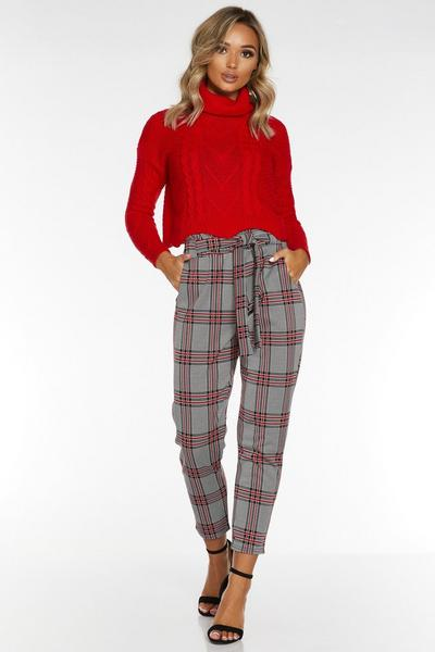 Black and Red Check Paper Bag Trouser